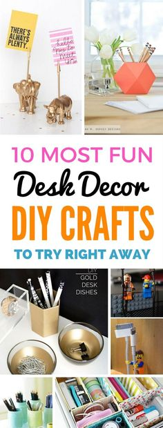 FABULOUS desk organization ideas and decor crafts that are pretty, fun and cheap! Learn how to organize while making your desk look great just by making a few of these diy crafts!