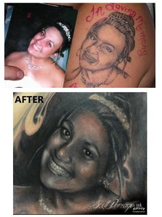 "amazing transformation...  beautiful story. this artist fixed this tattoo (which circulated the internet as the ""world's worst tattoo"") for free... artist is in akron ohio."