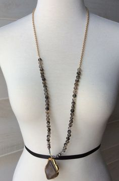 Clear and Brown Beaded Necklace with Stone