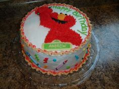 with crayons - All buttercream. Elmo was a frozen buttercream transfer ...