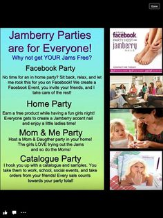 There are a variety of different ways you can host a Jamberry Nails party.  Facebook, Home, Mommy and Me, Catalog, and many more themes that can make a party that much more fun!