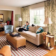 Mix Your Styles You can mix old and new, formal and casual, neutral and bold to make an inviting and comfortable space. A neutral-toned sofa and armchair introduce contemporary lines while custom draperies add a touch of tradition.