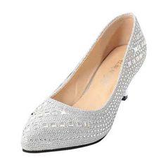 e29d9e97 Nueva Mujeres Sexual Zapatos de Tacon Medio Cristal Plataforma Boda Novia  Fiesta
