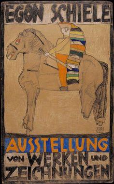 """Exhibition poster by Egon Schiele (1890-1918), 1915, """"Pferd und  Reiter (Horse and Rider), woodcuts, Galerie am Hof, Vienna."""
