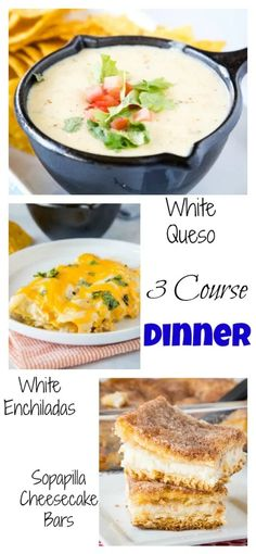 #ad A 3 Course dinner fit for any get together with friends and family.  Start off with the best White Queso Dip followed by White Chicken Enchiladas and then topped off with Sopapilla Cheesecake Bars.  A Mexican feast everyone will love! #DairyAmazing