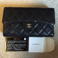 0bf119dd790f12 CHANEL authentic lambskin quilted L flap wallet Chanel Black Quilted  Lambskin L Flap Wallet Features silvertone