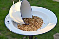 Enamelware Tea Cup Bird Feeder www.homeroad.net