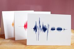 Bespoke sound wave cards. QR code on the back links to the audio :)