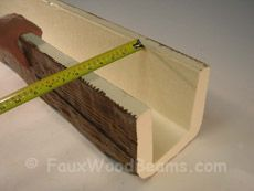How to install a faux wood beam - step-by-step instructions. Video at http://www.fauxwoodbeams.com/video-install.php