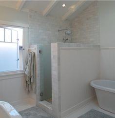 No Shower door? Thassos Marble Tiles