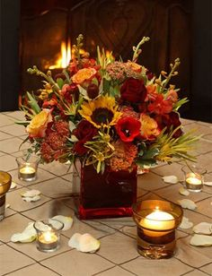 Burgundy Gold Green Orange White Yellow Bouquet Centerpiece Fall Winter Wedding Flowers Photos & Pictures - WeddingWire.com