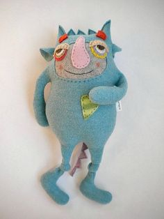 Stuffed Animal Monster Upcycled Turquoise Wool by sweetpoppycat by tommie Sock Monster, Monster Dolls, Toy Art, Stuffed Animal Cat, Stuffed Animals, Sock Animals, Cute Monsters, Little Doll, Sewing Toys