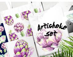 """Check out new work on my @Behance portfolio: """"Watercolor artichokes set"""" http://be.net/gallery/47627361/Watercolor-artichokes-set #watercolor #set #artichoke #illustration #art #flower"""