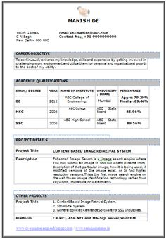 Resume Template Doc Simple Resume Format Pdf  Simple Resume Format  Pinterest