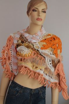 Lace Chunky Freeform Crochet Shawl / Wearable Art от levintovich