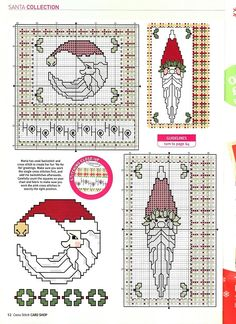 Cross-stitch Christmas Santas, part color chart on part Gallery. Santa Cross Stitch, Mini Cross Stitch, Cross Stitch Needles, Cross Stitch Cards, Beaded Cross Stitch, Cross Stitching, Cross Stitch Embroidery, Cross Stitch Patterns, Cross Stitch Christmas Ornaments