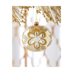 Shiny Gold Embellished Christmas Ball Ornament ($28) ❤ liked on Polyvore featuring home, home decor, holiday decorations, gold, gold christmas ball ornaments, glass ball christmas ornaments, gold home accessories, xmas ball ornaments and gold home decor