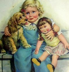 Three is Company - Illustration by Frances Tipton Hunter Baby Illustration, Dogs And Kids, Little Doll, Norman Rockwell, Cocker Spaniel, Spaniel Puppies, Vintage Pictures, Vintage Images, Dog Art