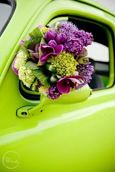 The leaf tucks and interesting color groupings of lime green and purple give this bouquet a unique, modern feel. Shades Of Purple, Green And Purple, Green Colors, Colours, Chartreuse Color, Neon Green, Chartreuse Wedding, Lime Green Weddings, Plum Purple