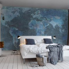 World Map Wallpaper Mural 405x270cm, Blue | ACHICA