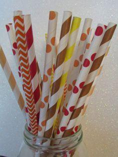 50 Thanksgiving - Fall PAPER STRAWS Mix of Orange, Red, Brown,Yellow Stripes, Dots, Chevron! , $5.99