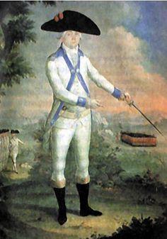 Vestimenta a la usanza del puertorriqueño del siglo XVIII al tiempo del asesio inglés a Puerto Rico. Cuadro del pintor boricua José Campeche.