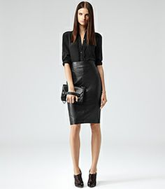 Shannon Black Leather Pencil Skirt - REISS