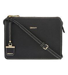DKNY Saffiano Leather Box Cross-Body Bag. #dkny #bags #leather #