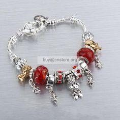 #Pandora Sterling #Silver Plated #Red Glaze Beads Rhinestones Charm #Bracelet Price