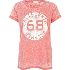 River Island Pink burnout California dreamer print t-shirt ($28) ❤ liked on Polyvore