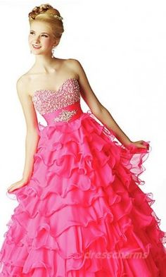 Beautiful deep pink Dress - beautiful for your quinceanera!