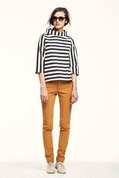 I like the modern stripe and odd pants color.