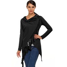 Cowl Neck Long Sleeve Asymmetric Tassel Blouse