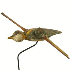 c. 1900 Hummingbird Whirligig Found in New York State - American  c. 1900  Turn of the century hummingbird whirligig with original paint surface. Found in New York State. Urban Country Antiques