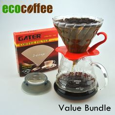 Eco Coffee New Arrival Coffee Value Bundle Ceramic Coffee Dripper V60 + 580ML Server + 102 Filters-in Coffee Filter Baskets from Home & Garden on Aliexpress.com | Alibaba Group