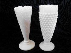vintage milk vase | Vintage Milk Glass Vases - Set of 2 Bud Vases, One Hobnail Vase & One ...
