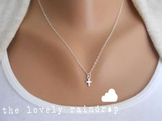 SALE  Sterling Silver Cross Necklace  Little by thelovelyraindrop