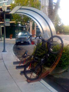 bike rack... We need bike racks like these in Corvallis. Heck.... Oregon or even the whole NW!!!