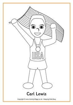 carl lewis colouring page