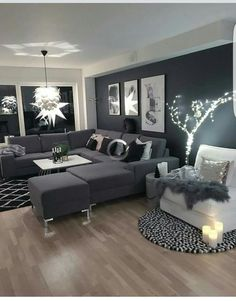 Schwarze Wohnzimmer-Ideen - Anja M Living Room Ideas - Anja M . Living Room White, Home Living Room, Apartment Living, Interior Design Living Room, Cozy Apartment, Cozy Living, Black And White Living Room Ideas, Rustic Apartment, Living Room Ideas With Grey Sofa