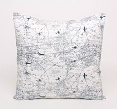 Navy and White Throw Pillow Cover, Navy Aviation Accent Pillow, 18x18 Navy Plane Map Pillow Cover Blue Pillow Sham Navy Cushion Gift for Him...