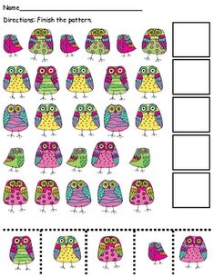 FREE! This a quick and cute patterning activity. It will require a keen eye by the kiddos since all of the pictures are owls. They will have to pay attention to details!