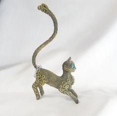 Cat figurine Cat statuette Cat rings holder by FantasyIznakurnozh