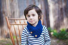 Toddler Boy's Scarf, Cowl Neckwarmer, Infinity Scarf in Wild Blue. $24.00, via Etsy.