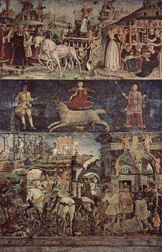 francesco del cossa - marzo – trionfo di minerva e segno dell'ariete, fresco, 1468-70, salone dei mesi, palazzo schifanoia, ferrara