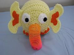 Cute, little elephant. He's nose is one of those plastic spring toys you always find in birthday party bags. It an easy and free pattern.