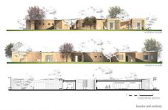 Image 11 of 16 from gallery of Instant House @ School Winning Proposal / B² Architecture. facades and sections Architecture Images, Architecture Drawings, School Architecture, Beautiful Architecture, Landscape Plaza, Architecture Presentation Board, Architectural Section, Art Nouveau Design, Classroom Design