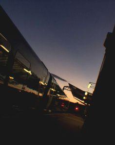 Aesthetic, aesthetic photography, beautiful, beautiful sunset, sunset, lights, twilight, pretty sunset, aesthetic mood, mood, sky, pretty sky, pretty sky sunset, train, train station, train station at night, streetlights, streetlamps, aesthetic sky, aesthetic sunset, dark sky, pink sky, blue sky, ombré, ombré sky Blue Aesthetic Dark, Night Aesthetic, City Aesthetic, Aesthetic Images, Aesthetic Photo, Beautiful Sunset, Beautiful Beautiful, Beautiful Lights, Twilight Sky