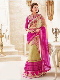 Cream and Pink Net Lehenga Saree With Pearl And Cutdana Work(One minute saree) Product Code : SAAA1723