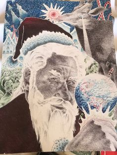 Santa Claus drawn entirely with Bic pens